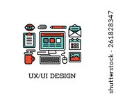 flat line icons of ui and ux...