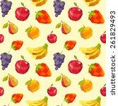 vintage polygon fruit pattern | Shutterstock .eps vector #261829493