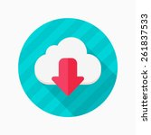 cloud download flat icon with...