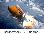 space shuttle flying over the... | Shutterstock . vector #261855023