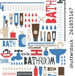 silhouette pattern of bathroom...   Shutterstock .eps vector #261855167