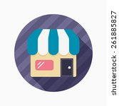 store flat icon with long...