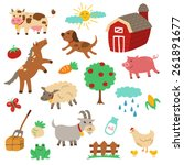 country farm theme with cute... | Shutterstock .eps vector #261891677
