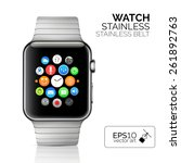 stainless silver smart watch... | Shutterstock .eps vector #261892763