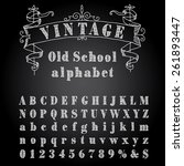 hand drawn font with chalk on... | Shutterstock .eps vector #261893447