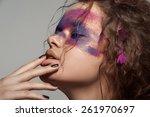 beautiful portrait. girl face.... | Shutterstock . vector #261970697