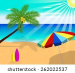 tropical beach with palm trees... | Shutterstock .eps vector #262022537