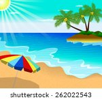 tropical beach with palm trees  ... | Shutterstock .eps vector #262022543
