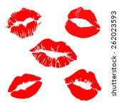 print of lips kiss vector... | Shutterstock .eps vector #262023593