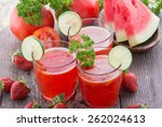 a glass juice combining... | Shutterstock . vector #262024613