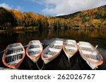 Stock photo boats parking on lake kido surrounded by autumn forests of vibrant colors scenery of kido ike 262026767