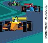 race cars on track    Shutterstock .eps vector #262029857