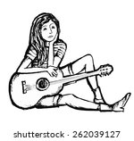 line drawing of girl with guitar | Shutterstock .eps vector #262039127