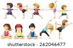 people doing yoga in different... | Shutterstock .eps vector #262046477