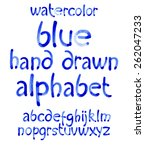 watercolor hand written blue... | Shutterstock .eps vector #262047233