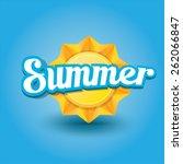 beautiful summer illustrations . vector summer label. summer icon with sun. Stylized design element. Background design for banner, poster, flyer, cover, brochure. Logo design. | Shutterstock vector #262066847