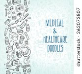 health care and medicine doodle ... | Shutterstock .eps vector #262073807