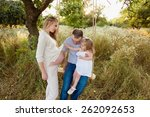 little cute girl and father... | Shutterstock . vector #262092653