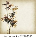 grunge stained bamboo paper... | Shutterstock . vector #262107533
