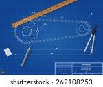 blueprint bike chain  vector... | Shutterstock .eps vector #262108253