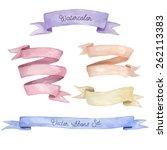 Watercolor Ribbons Set. Hand...
