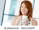 young attractive businesswoman... | Shutterstock . vector #262113647