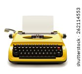 yellow vintage typewriter with... | Shutterstock . vector #262114553