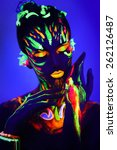 Woman's Face With Fluorescent...