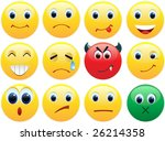 big set of shiny smiles icons | Shutterstock .eps vector #26214358