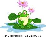 Funny Green Frog Cartoon...
