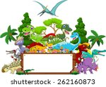 dinosaur cartoon with landscape ... | Shutterstock .eps vector #262160873