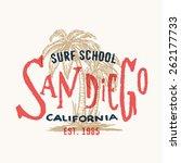 san diego california surf... | Shutterstock .eps vector #262177733