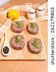 cutlets on a cutting board with ... | Shutterstock . vector #262179803