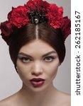 close up portrait of beauty... | Shutterstock . vector #262185167