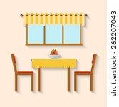 flat design interior dining...   Shutterstock .eps vector #262207043