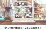 white notebook with social... | Shutterstock . vector #262230557