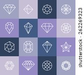vector diamonds and gems linear ... | Shutterstock .eps vector #262269323