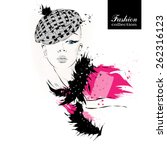fashion girl in sketch style.... | Shutterstock .eps vector #262316123