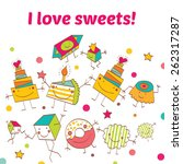 sweet postcard | Shutterstock .eps vector #262317287