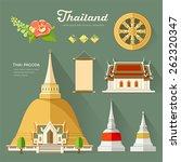 Thai Pagoda With Temple  Wheel...