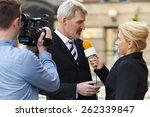 female journalist with... | Shutterstock . vector #262339847