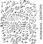 vector hand drawn arrows set... | Shutterstock .eps vector #262347293