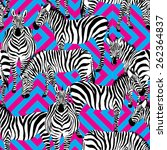 zebra black and white pattern ... | Shutterstock .eps vector #262364837