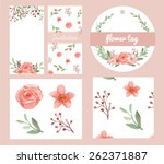 vector of flowers and leaves... | Shutterstock .eps vector #262371887