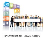 crowd of businesspeople... | Shutterstock .eps vector #262373897