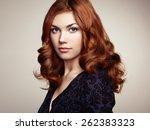 fashion portrait of elegant... | Shutterstock . vector #262383323
