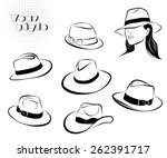 beautiful girl in hat and... | Shutterstock .eps vector #262391717