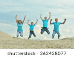 happy family of four on a walk... | Shutterstock . vector #262428077