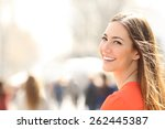 beauty woman with perfect smile ... | Shutterstock . vector #262445387