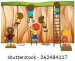 Many Children Climbing Up The...